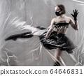 Self-isolation COVID-19 of ballerina in the studio. 64646831