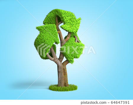 volumetric green grass coated recycling sign as 64647391