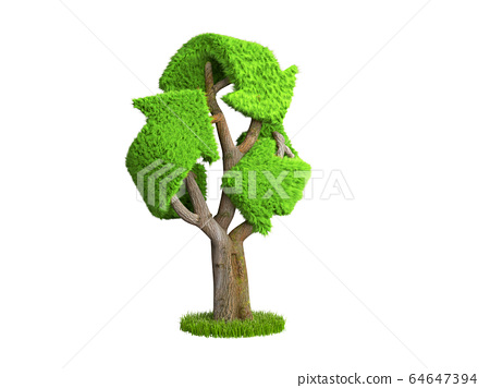 volumetric green grass coated recycling sign as 64647394