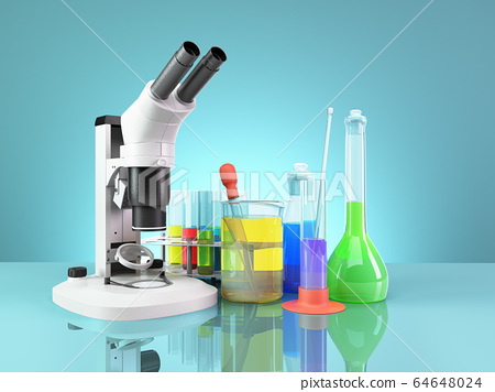 test tubes and flasks with reagents stand next to 64648024