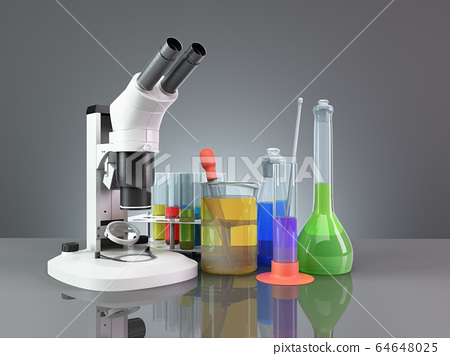 test tubes and flasks with reagents stand next to 64648025