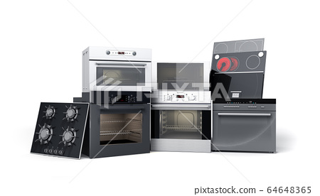 Home appliances built in Group of white 3d render 64648365