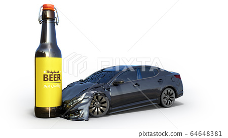 drunk driving concept car crashed on a bottle 3d 64648381