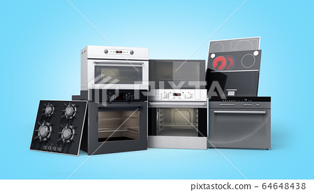 Home appliances built in Group of white 3d render 64648438