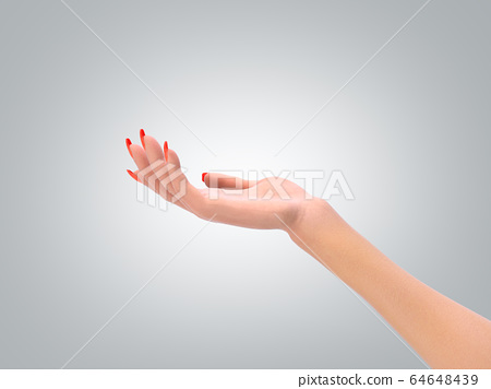 female hand in a static pose 3d render on grey 64648439