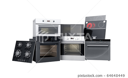 Home appliances built in Group of white 3d render 64648449