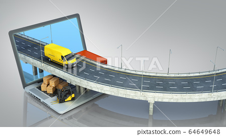 transportation concept road from the laptop on the 64649648