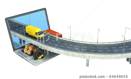 transportation concept road from the laptop on the 64649650