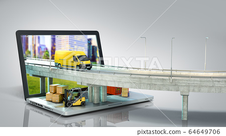 transportation concept road from the laptop on the 64649706