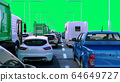 Cars on highway in traffic jam 3d render green 64649727
