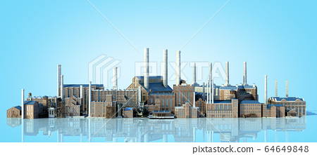 Old industrial buildings with reflection 3d 64649848