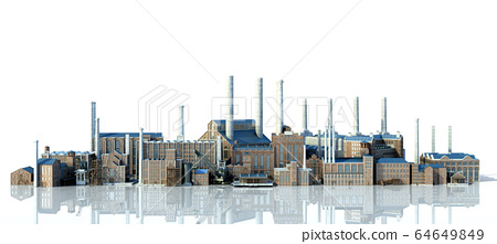 Old industrial buildings with reflection 3d 64649849