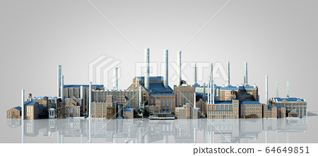 Old industrial buildings with reflection 3d 64649851