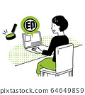 A woman doing an electronic seal stamp 64649859