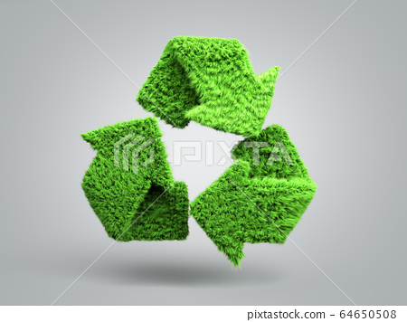 volumetric green grass coated recycling sign 3d 64650508
