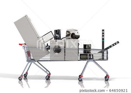 Home appliances in the shopping cart E-commerce or 64650921