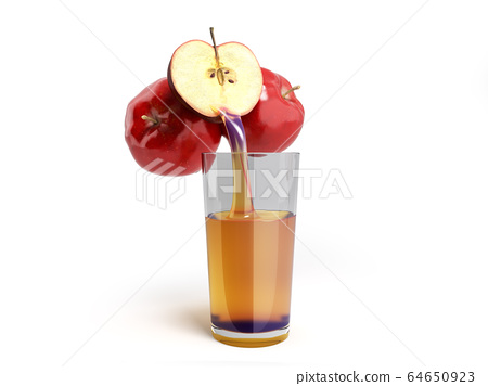 concept of fresh natural juice apple juice flows 64650923