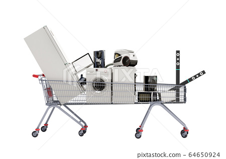 Home appliances in the shopping cart E-commerce or 64650924