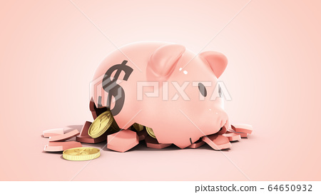 savings spending comcept pink ceramic piggy bank 64650932