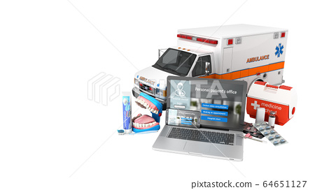 modern concept of online medical care laptop and 64651127