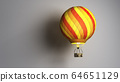 Hot Air color balloon cast shadow on wall 3d 64651129