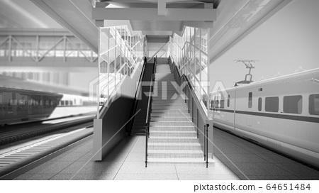 White modern high speed train on railway station 64651484