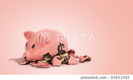 savings spending comcept pink ceramic piggy bank 64651485