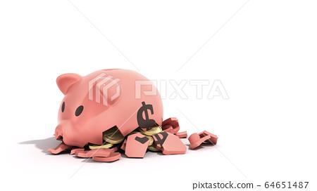 savings spending comcept pink ceramic piggy bank 64651487