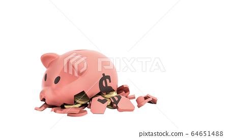savings spending comcept pink ceramic piggy bank 64651488