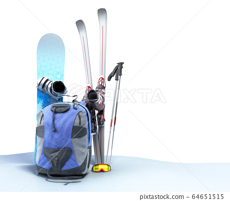 concept of winter tourism snowboarding and skiing 64651515
