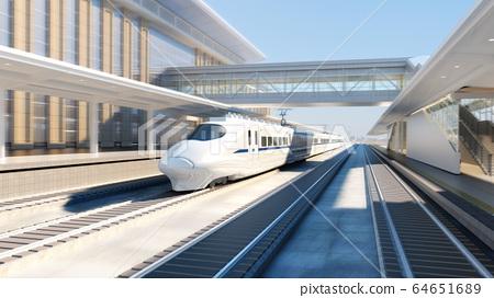 White modern high speed train on railway station 64651689