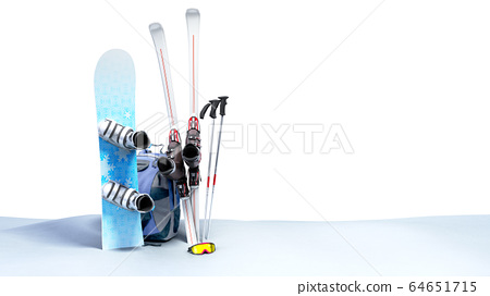 concept of winter tourism snowboarding and skiing 64651715