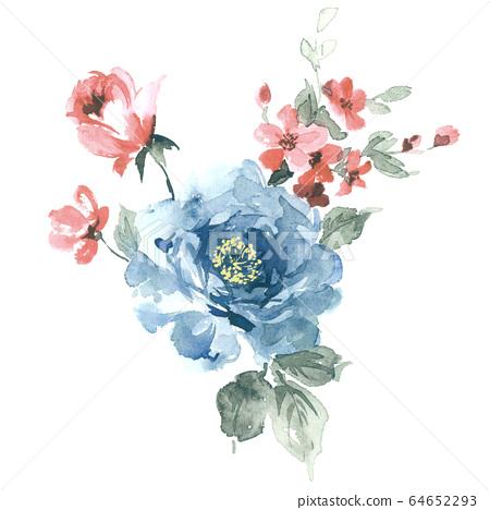 色彩豐富的花卉素材組合和設計元素 64652293