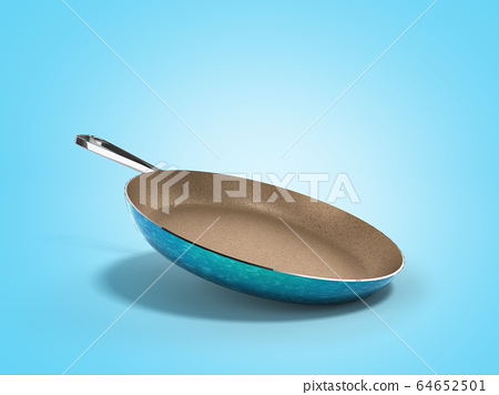frying pan with stone sprayed 3d render on blue 64652501