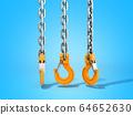Set of crane hooks on blue 3D Illustration 64652630