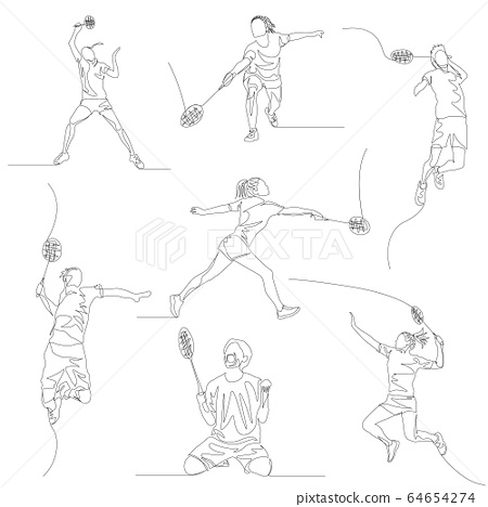 Continuous one line badminton player set. Summer Olympic Games. Vector 64654274