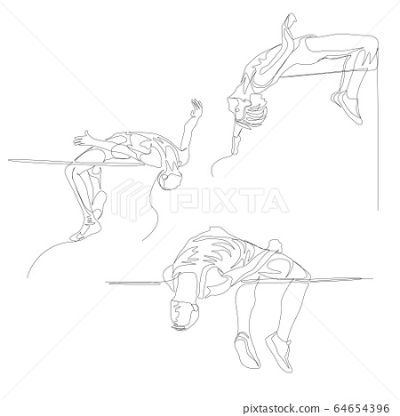 Continuous one line high jumper set. Summer Olympic Games. Vector 64654396