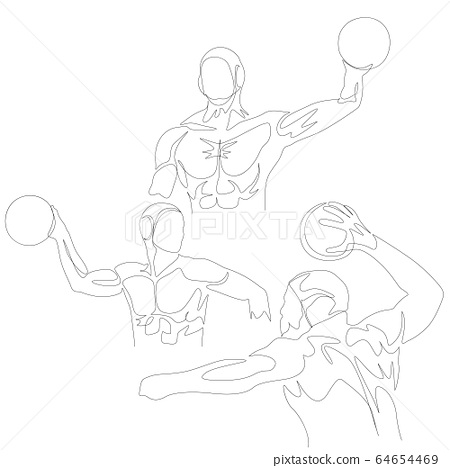 Continuous one line water polo player set. Summer Olympic Games. Vector 64654469