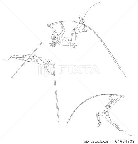 Continuous one line pole vaulting set. Summer Olympic Games. Vector 64654508