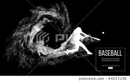 Abstract silhouette of a baseball player batter on dart black background from particles, dust, smoke. Baseball player batter hits the ball . Background can be changed to any other. Vector illustration 64655286