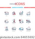 Different mammals - modern line design style icons set 64655692