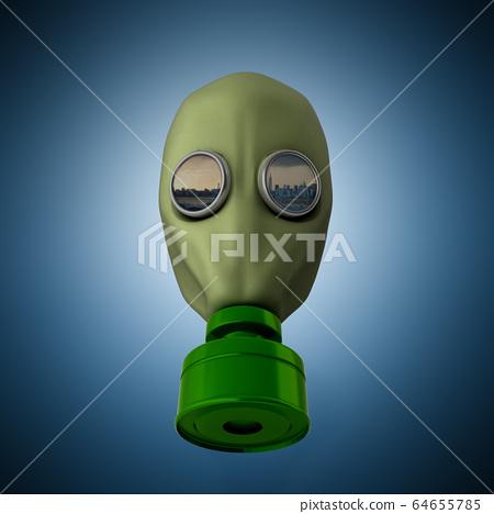 Old vintage gas mask 3d render on a blue 64655785