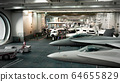 fighter aircraft on the inner deck of an aircraft 64655829