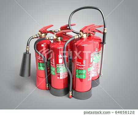 Fire extinguishers isolated on grey background 64656128