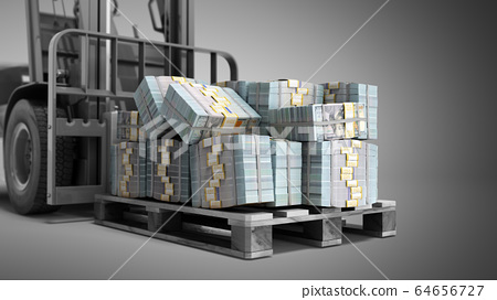 Stack of dollar money bills on wooden pallet with 64656727
