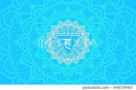 Vishuddha, throat chakra symbol. Colorful mandala. 64659460