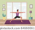 Man training yoga stay at home flat color vector 64660061