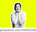 Collage in magazine style with emotional woman in black and white contour on bright background with copyspace 64660248
