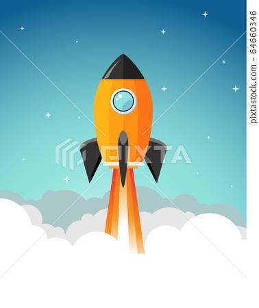 Rocket launch illustration. Product business launch concept design ship vector technology background 64660346