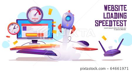 Website loading speed test banner internet traffic 64661971